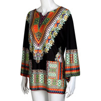 Vintage Vestidos African Dress Summer For Women Long Sleeve African Design Traditional Casual Straight Print Floral
