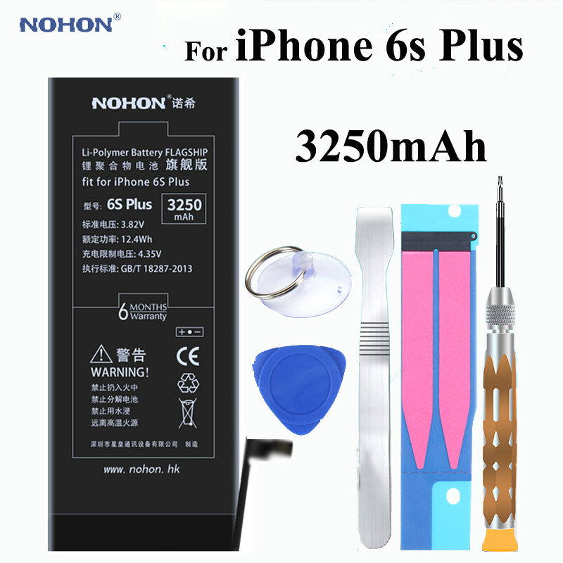 quality design 62f58 18288 US $25.99 30% OFF|Original NOHON Battery 3250mAh For Apple iPhone 6s Plus  6sPlus Built in Phone High Real Capacity Li polymer With Tools + Package-in  ...