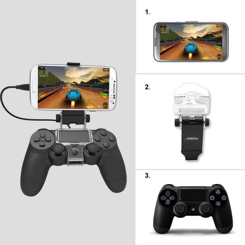 Smart Handle Clip Cell Mobile Phone Clamp Holder With OTG Cable For Playstation 4 Controller Black For Game PS4 Iphone