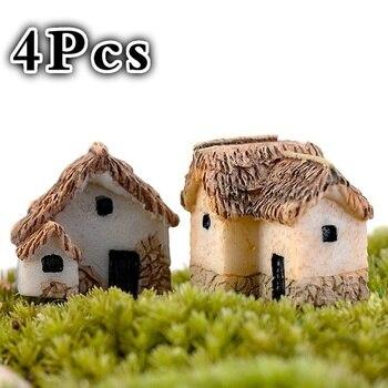 4Pcs House Miniature Figurine Fairy Garden Accessory Home Decoration Cartoon Animal Building Statue Resin Craft Doll Car
