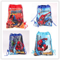 12Pcs Superhero Spiderman Cartoon Kids Drawstring Printed Backpack Shopping School Traveling Party Bags Birthday Gifts
