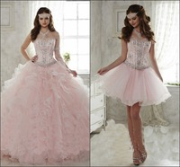 2015 Light Pink Quinceanera Dress Ball Gown Sweetheart Detachable Ruffled Train 15 Year Girl Quinceanera Gown