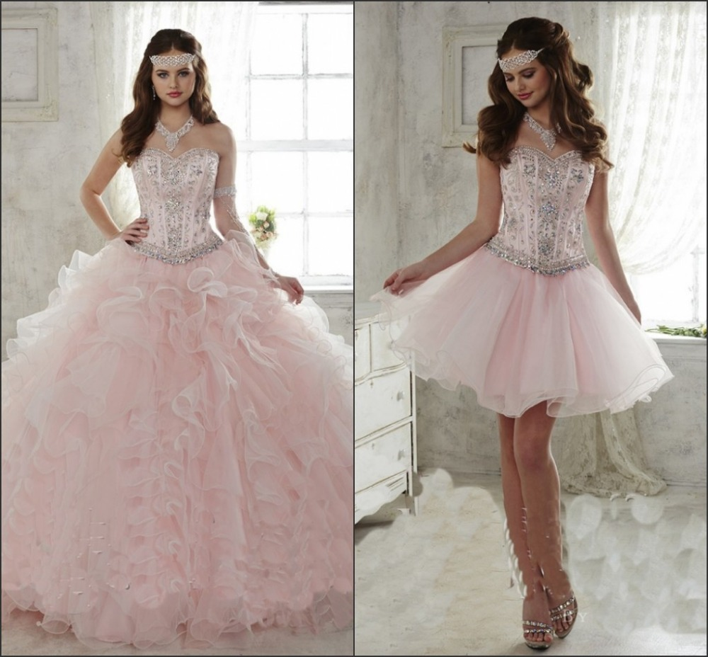 Real photo 2017 light pink quinceanera dress ball gown sweetheart detachable ruffled train 15 year girl
