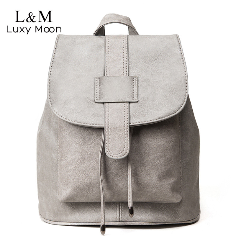 цена на Luxy moon Women Solid Backpack Vintage Backpacks School Bags for Teenage Girls Brand PU Leather Rucksack Black mochila XA567H