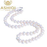 ASHIQI Natural Freshwater Pearl Necklace 9 10mm Near Round Pearl Jewelry For Women Gift