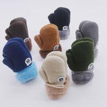 Модные теплые вязаные кашемировые перчатки для мальчиков и девочек