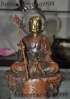 Crafts statue 12Old Chinese Buddhism Bronze gilt Joss Xuanzang Monk Ksitigarbha Buddha Statue