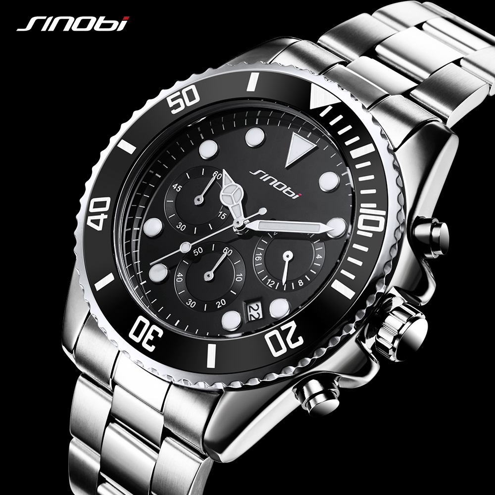 d26e144f547 Detail Feedback Questions about 2018 Sinobi Men s Quartz Watch Full Steel  Waterproof Calendar Luminous Luxury Chronograph Black King Kong Box Gift  Hardlex ...