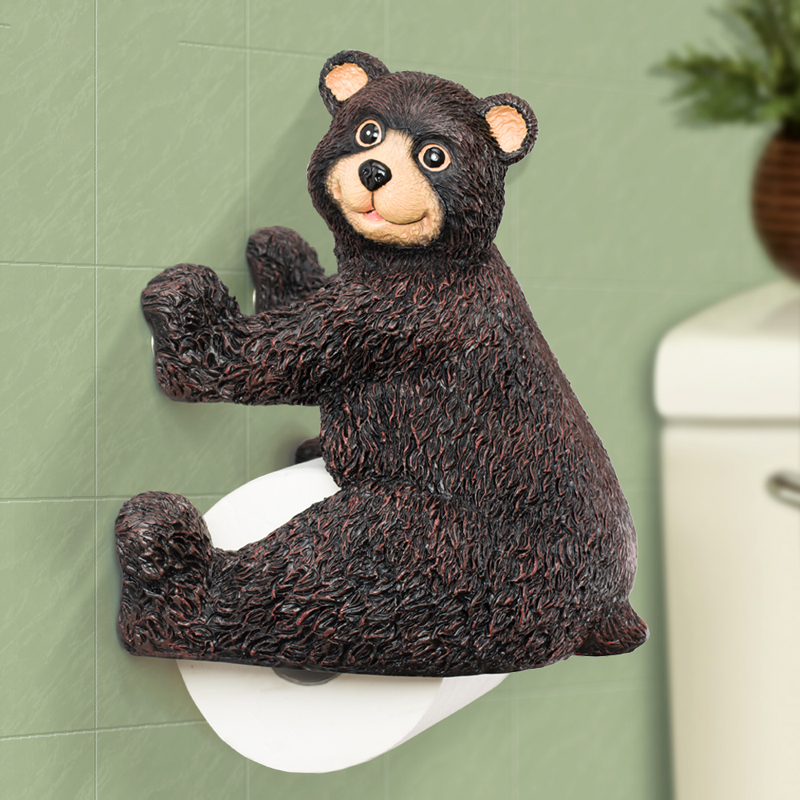 Creative Cute Animal Handmade Resin Wall Mounted Toilet Paper Holder Bear Roll Bathroom Kitchen Tissue Paper