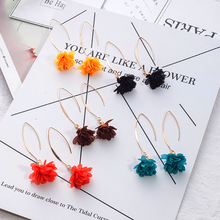 Cloth Flower Handmade Craft Hanging Long Golden Dangle Drop Earrings For Women Ladies Statement Jewelry Accessories Wholesale