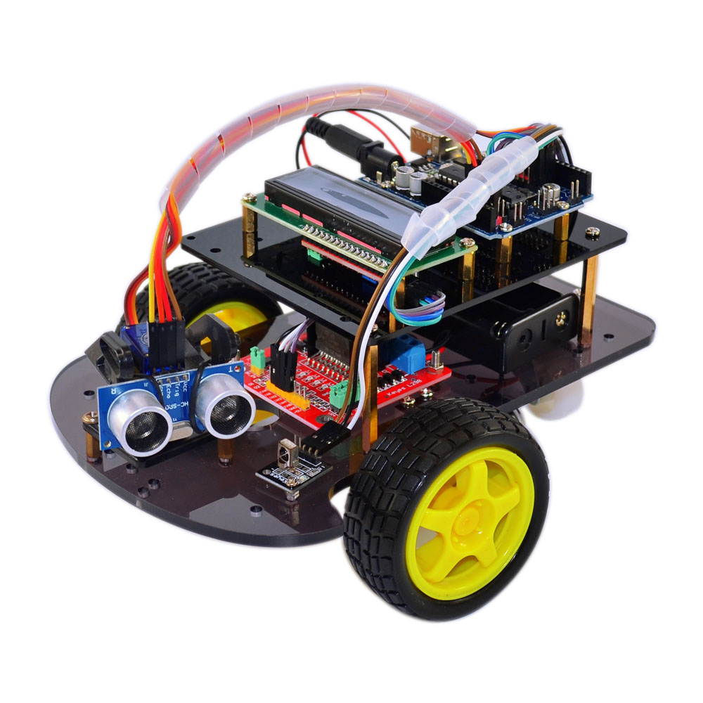 Chassis car Kit Ultrasonic obstacle avoidance intelligent smart Chassis car kit robot ArduinoSmart Elektronica Motor Smart Car intelligent car chassis car tracing robot obstacle avoidance car with strong magnetic encoder motor rt 4