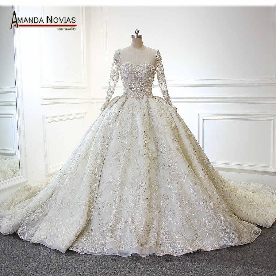2019 Amanda Novias Real Photos Newest Luxury Wedding Dress With Full Beaded Top