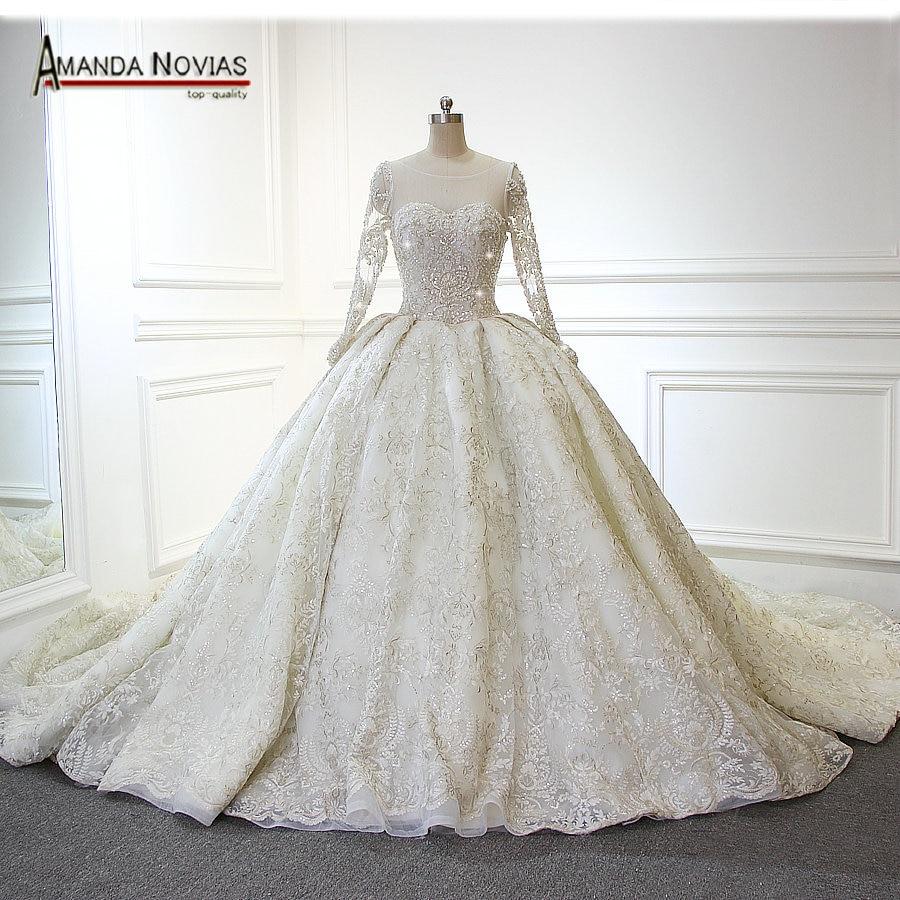 Real Simple Weddings 2017: 2017 Amanda Novias Real Photos Newest Luxury Wedding Dress