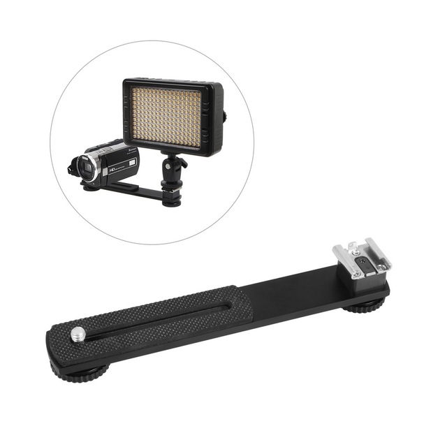 """Meking External Hotshoe Mount for DV Camcorder Flexible Extension Holder Bar for Speelite LED Light w/ Two 1/4"""" Screw Hole"""