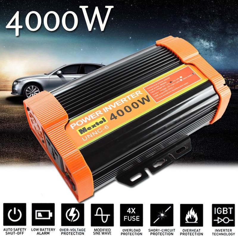 4000W Power Inverter 12 V to AC 220 Volt Modified Sine Wave Converter Car Charge Converter Auto Transformer Max 8000 Watt 2 USB 20etf12 to 220 2