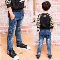 新しい子供デニムパンツビッグ男の子スリムジーンズ男の子のジーンズ、子供ジッパージーンズ