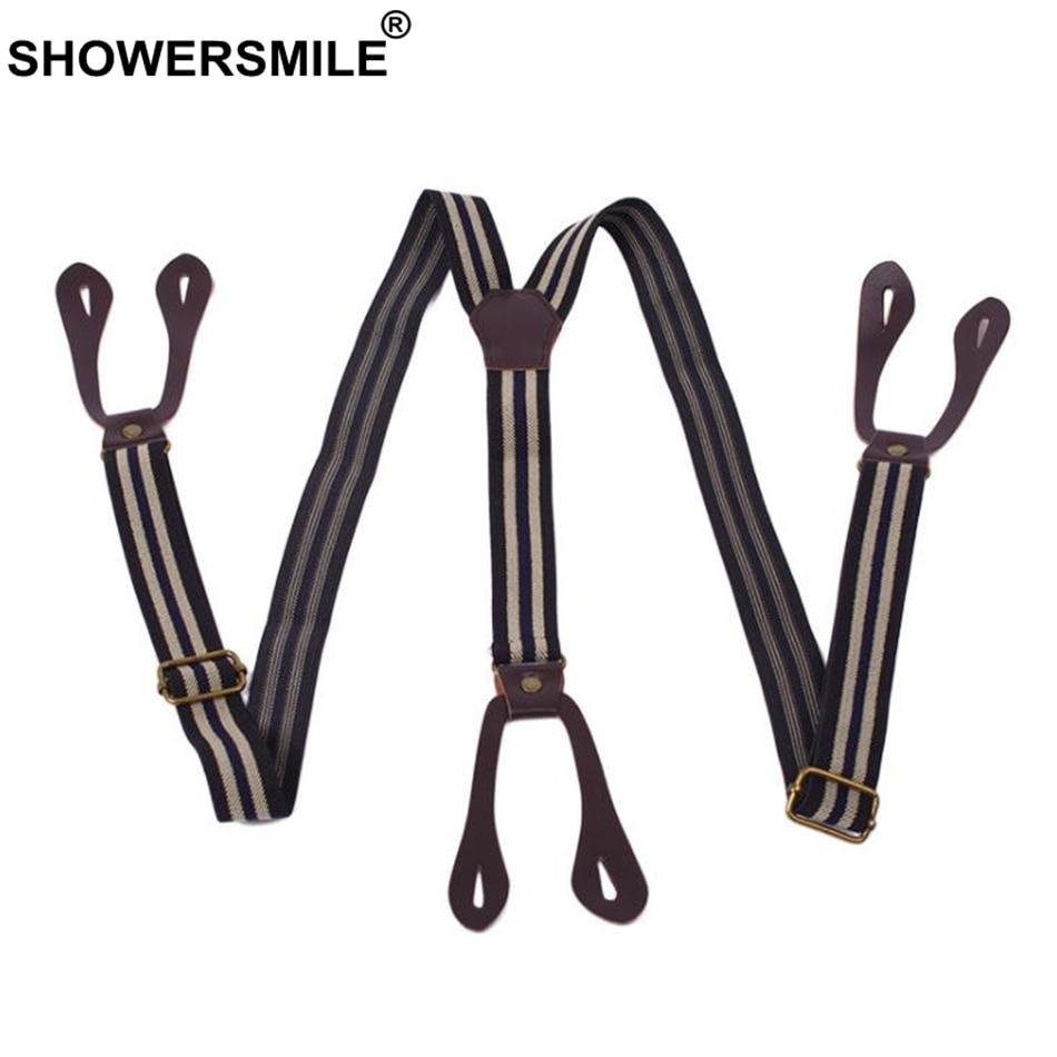 SHOWERSMILE Button Suspenders Men Braces Striped Coffee Y Back Adjustable Male Female Suspenders British Vintage Trousers Strap