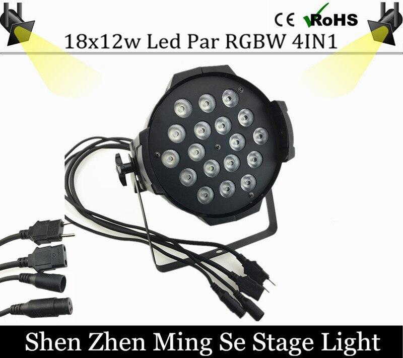 LED Par 18x12W RGBW 4in1 Quad LED Par Can Par64 led spotlight dj projector wash lighting stage uplight