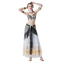 2019 Tribal Sexy Belly Dance Costumes 3 Sets Vintage Coins Bra Tassel Belt Pants Women Tribal Gypsy Clothes Pure Handtailor tribal print tassel dress