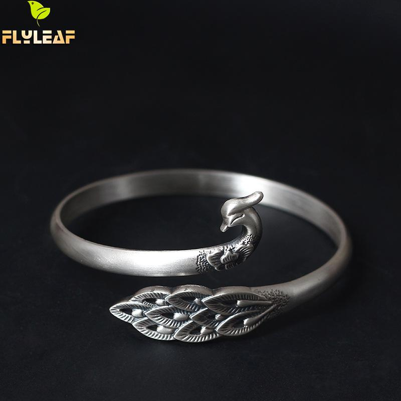 925 Sterling Silver Beautiful Peacock Bird Bracelets Bangles For Women Chinese Tradition Style Lady Sterling silver