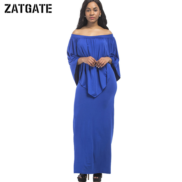 Plus Size Solid Royal Blue Ruffle Cape Dress Women 3XL Off Shoulder ...