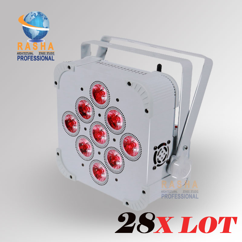 28X LOT New Arrival 9*18W 6in1 RGBAW+UV Battery Powered With Built In Wireless LED Flat Par Light With DMX512,ADJ LED Par Can