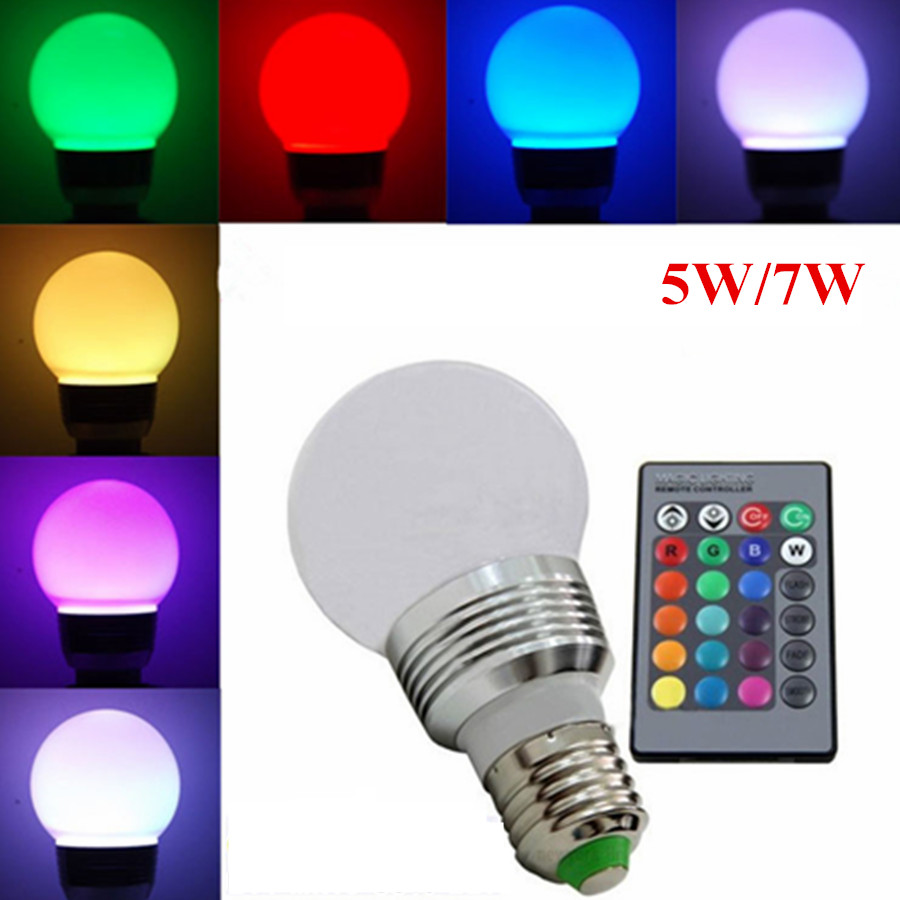 Full Color E27 E14 B22 RGB LED Bulb 5W 7W AC85V-265V 110V 220V LED Ball Bulb Stage Light Disco DJ Led lamp Party Club + RemoteFull Color E27 E14 B22 RGB LED Bulb 5W 7W AC85V-265V 110V 220V LED Ball Bulb Stage Light Disco DJ Led lamp Party Club + Remote