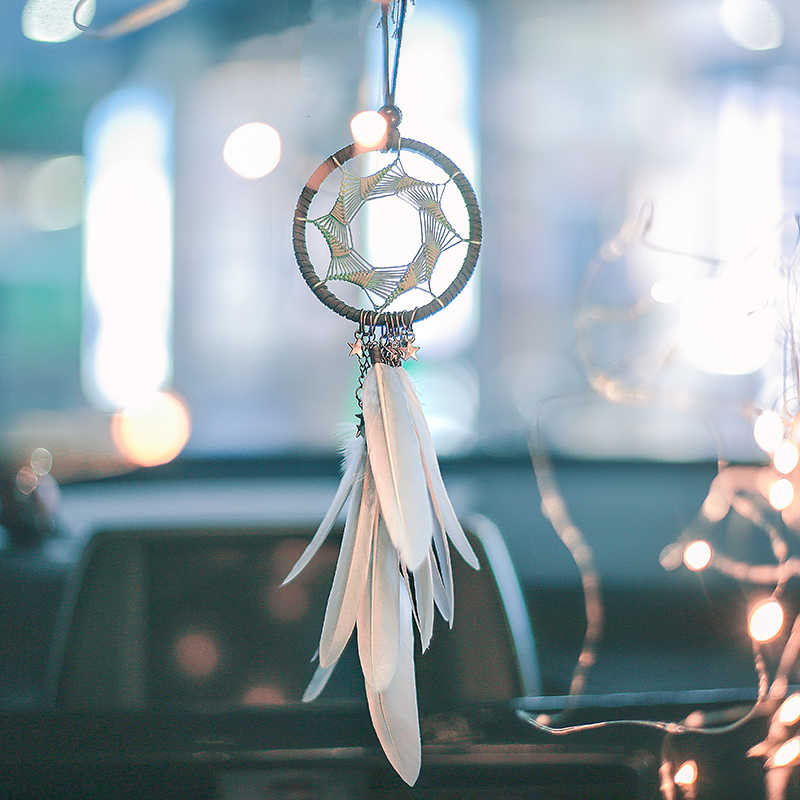 Mini 38cm Dream Catchers Hanging Car Kids Nursay Room Decoration Indian Style Feathers Pendants Bag Key Chains Wind Chimes