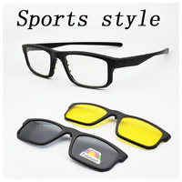 Full Frame Male Sports Style Eyeglasses Frame With Magnet Clip Ultra light 3D Glasses Polarized Sunglasses Night Vision Goggles