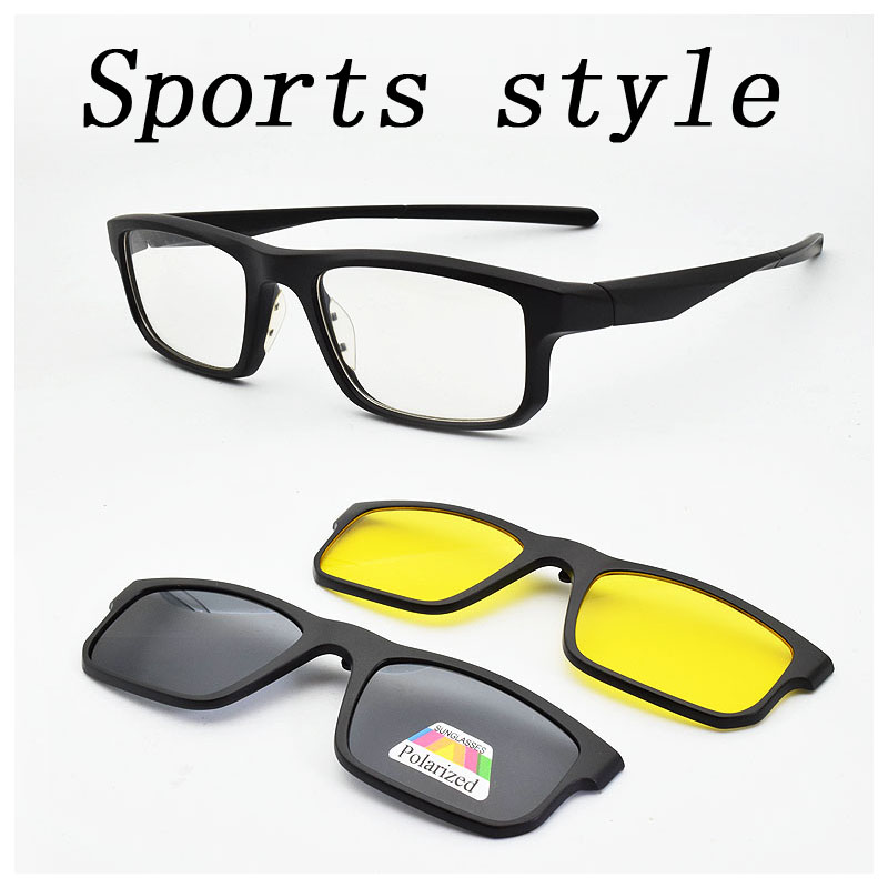 85b8d3c951 Online Shop Full Frame Male Sports Style Eyeglasses Frame With Magnet Clip  Ultra-light 3D Glasses Polarized Sunglasses Night Vision Goggles