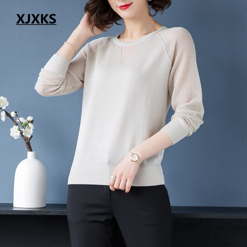 XJXKS Spring 2019 Women Sweaters Hollow Out Long Sleeve Woman Tops Pullover Autumn Modis New Thin Sweater Dropshipping