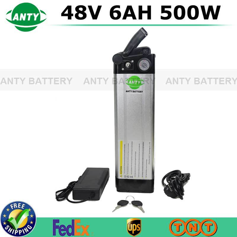 Free Shipping 48v 6Ah 500W Electric Bike Battery 48v with 2A Charger,BMS 48v Lithium Scooter Battery Pack e-bike Battery 48v free customes taxes 48v 2000w electric bike battery 48v 35ah lithium ion battery pack for electric bike with charger bms