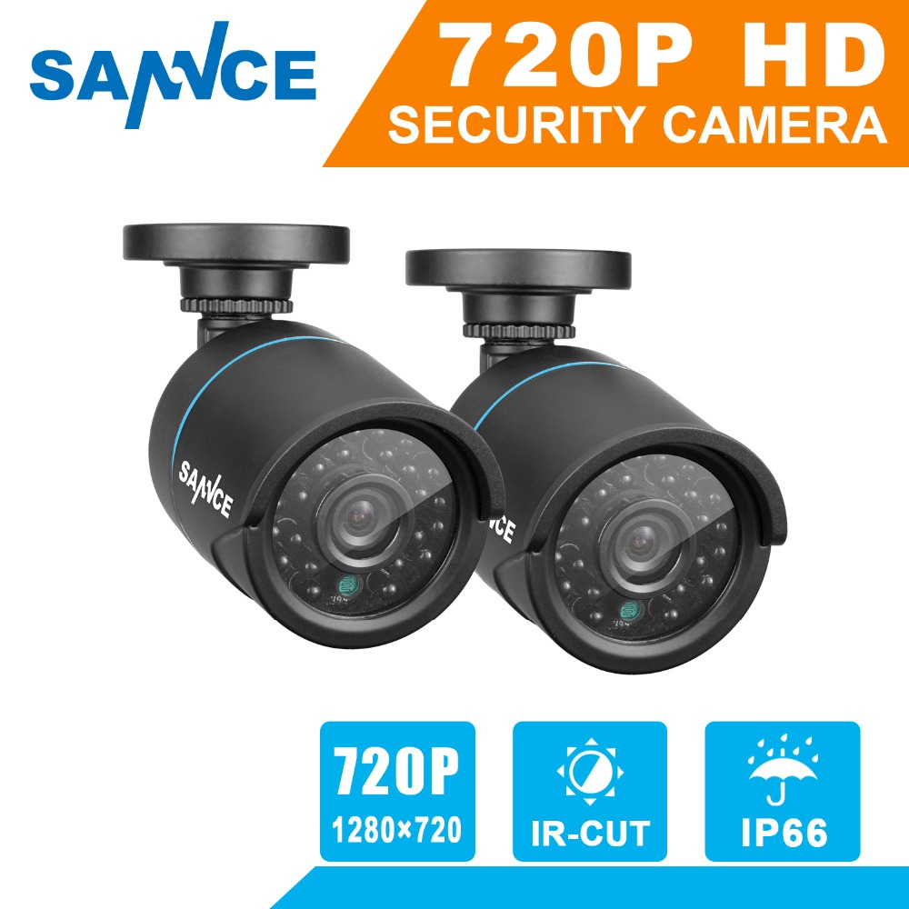 SANNCE 2PCS AHD 720P 1MP CCTV Security Camera indoor outdoor weatherproof IR night vision in Home Surveillance Security System sannce 8ch 720p ahd dvr 4pcs 1200tvl ir night vision outdoor cctv camera 24 leds home security cctv system surveillance kit
