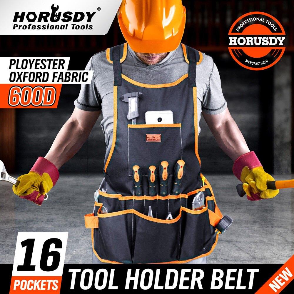 HORUSDY Bib Apron 16 Pocket Tool Bag Woodworking Gardening Craft Mechanic Oxford Cloth For Tool Storage Organizer Tool Kit