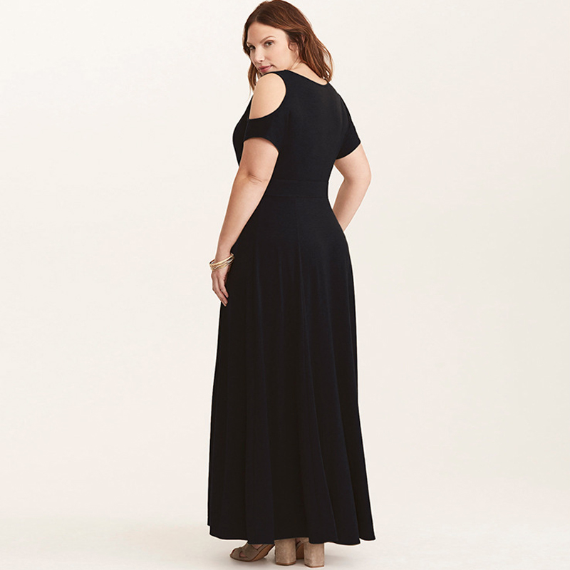 CINQ DIAMANTS Black Maxi Long Dress Cold Shoulder Plus Size Swing Dress  Short Sleeve V Neck Dress Longue Robe Vestido Longo jurk-in Dresses from  Women s ... f70ddfda9117