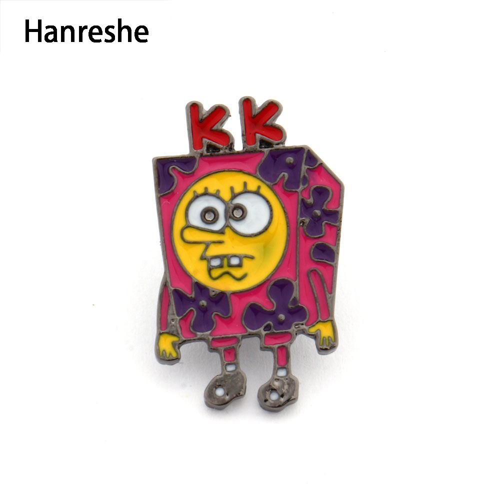 HANRESHE SpongeBob Meme Pin Brooche Lapel Pin Cute Pink Trendy Jewelry Enamel Pin Badge for Women Accessories Best Gifts image