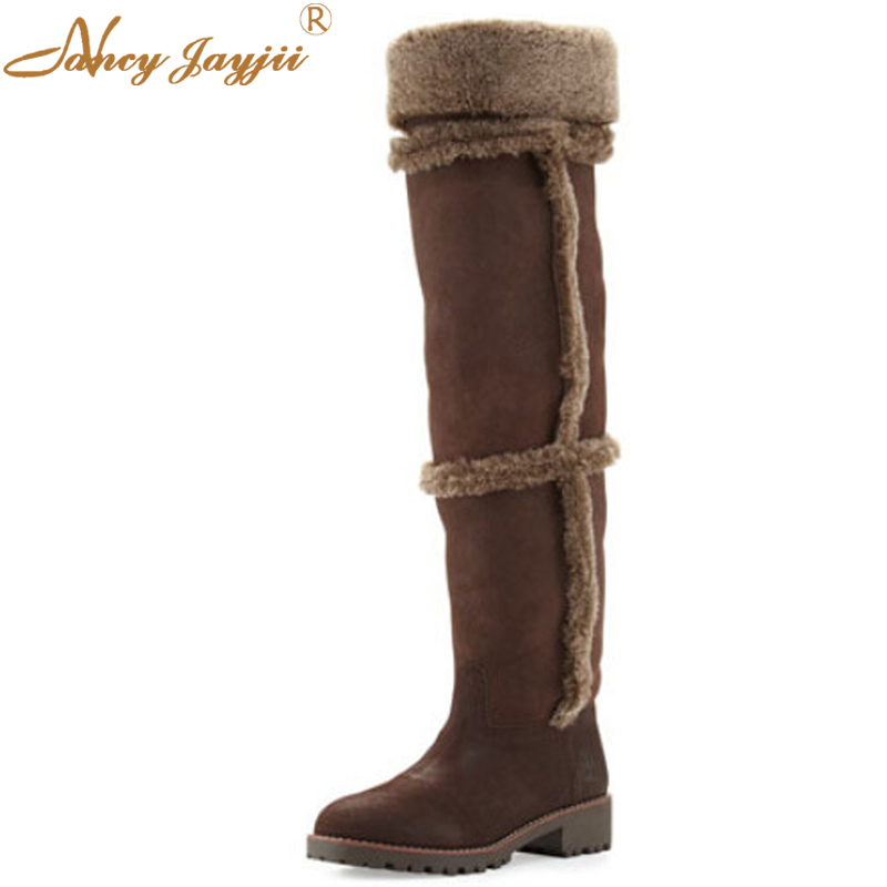 Women Kid-Suede Shearling Tall Boots With Cashmere Edge Coconut Tonal Top Stitching High-Knee Outdoor Large Size 4-16