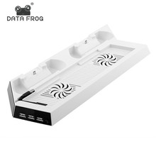 White Charging Dock Stand Dual Cooling Fan for PS4 Cooling Station Vertical Stand with 3 Controller Charging Dock