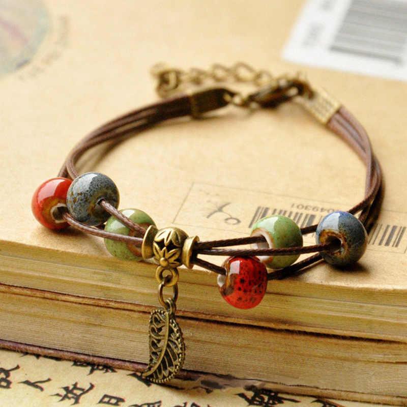 Beaded Bracelets Women Men Ceramic Beads Leaf Charm Multilayer Leather Chain Cuff Bangle Adjustable Wristbands Bohemia Jewelry