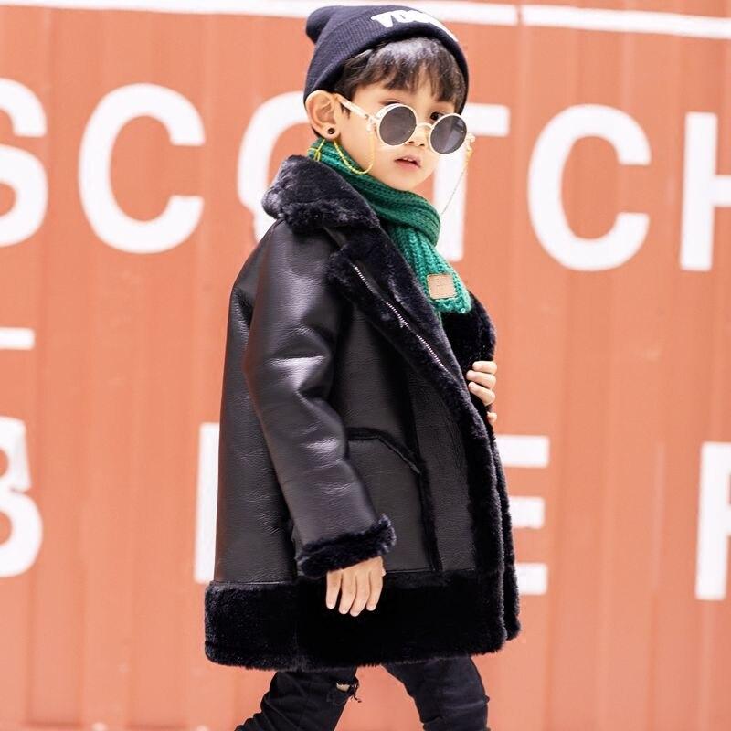 Hiver fille PU couture fausse fourrure veste enfants Plus velours chaud vêtements d'extérieur Modis adolescent Kdis Plus épais Parka agneau fourrure manteau Y2475 - 3