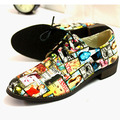 Fashion patent leather vintage British street punk style flower print loafer women flat shoes lace up oxford shoes mixed color