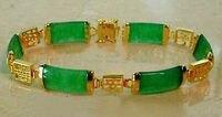 Natural Jadeite Verde AA Fortuna Longo menina Moda jóias Sorte Link Pulseira 7.5