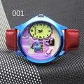 3 colores lindos de la historieta niños niñas reloj banda de cuero reloj de los niños.