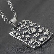 купить Gothic Skeleton Tag Necklace Casting Titanium Stainless Steel Skull Head Pendant Necklace for Men Hip Hop Jewelry дешево