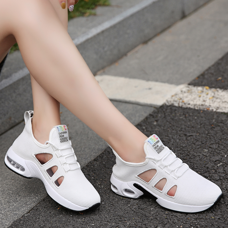Women Sport Sandals Sexy Laces Flats Air Cushion Tracking Shoes 2019 Summer Knit Sneakers for Woman Sandalias mujer deportiva