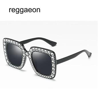 reggaeon 2018 Women Square Oversized Diamond Sunglasses g Ladies New Brand Designer Mirror Sun Glasses Pearl accessories