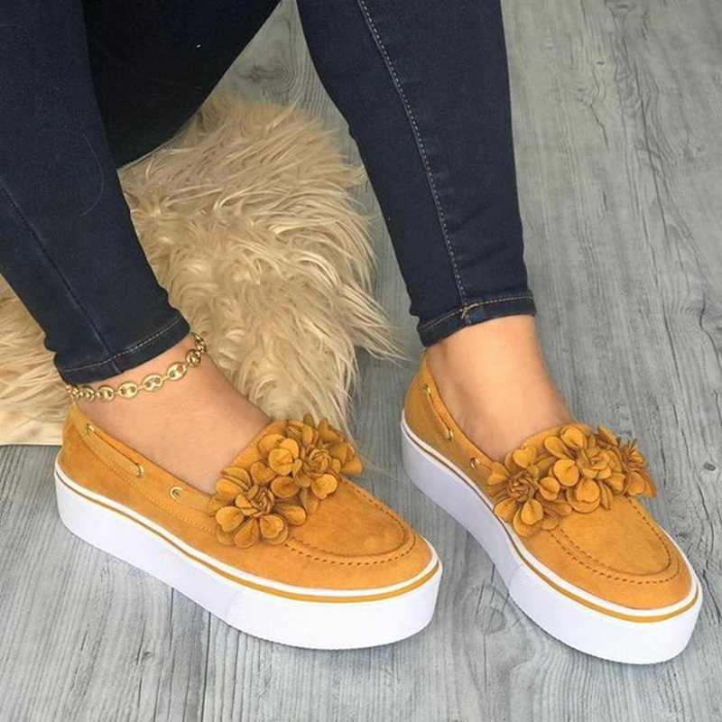 Laamei 2019 Femmes chaussures plates Baskets à Plateforme sans lacet Chaussures Plates En Cuir Daim Dames Mocassins décontracté Chaussures Florales Femmes Zapatos