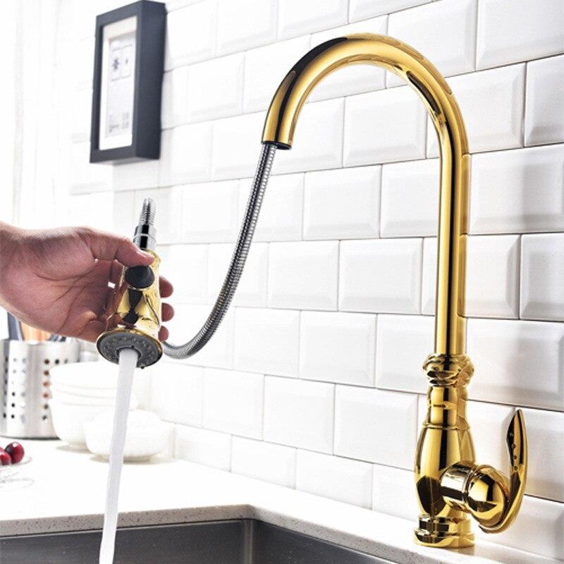 Torneira Da cozinha Pull Out Kitchen Sink Mixer Tap Ouro/Cromo/Níquel latão de Água Fria e Quente Torneira Da Cozinha Rotação tap Torneira