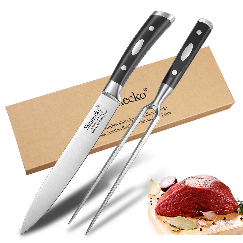 SUNNECKO 2PCS Kitchen Knives Gift Box Set 8'' Slicing Knife 7'' Fork German 1.4116 Steel Sharp ABS Handle Cutting Tools Meat
