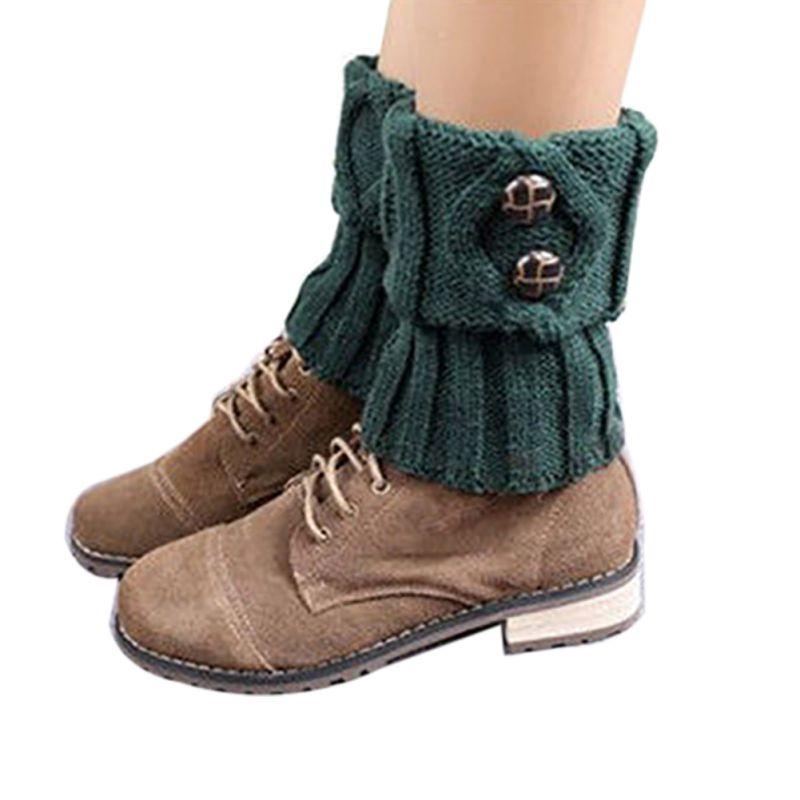 Women Fashion Winter Leg Warmers Short Section Knitted Crochet Button Long Socks Boots Cuffs Socks